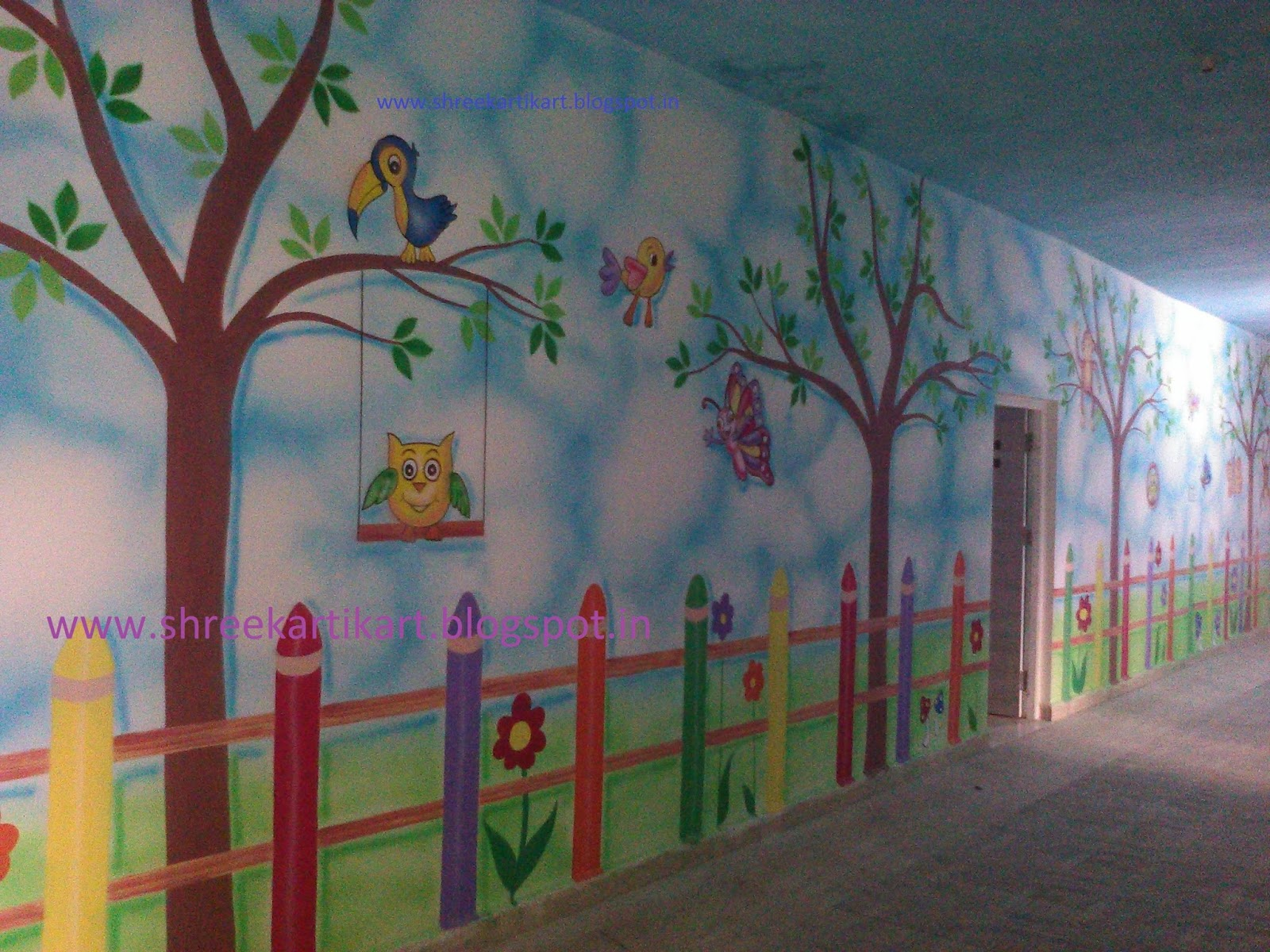 Play school wall painting 3d cartoon painting school for Design a mural online
