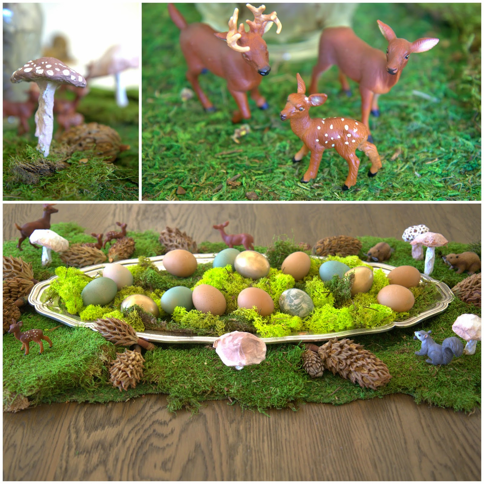 Woodland Party; Dining Room Table, moss runner, eggs, mushrooms, deer family: Nora's Nest