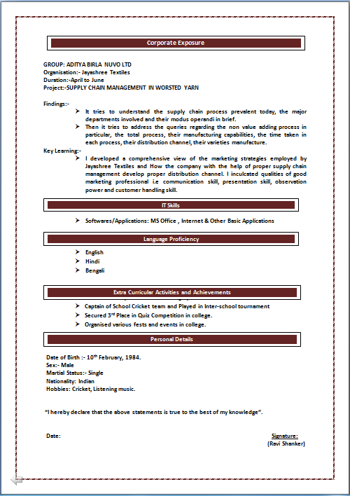 resume format for commerce graduates freshers