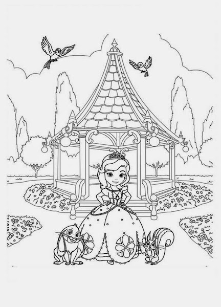 Sofia the First Coloring Pages Friends
