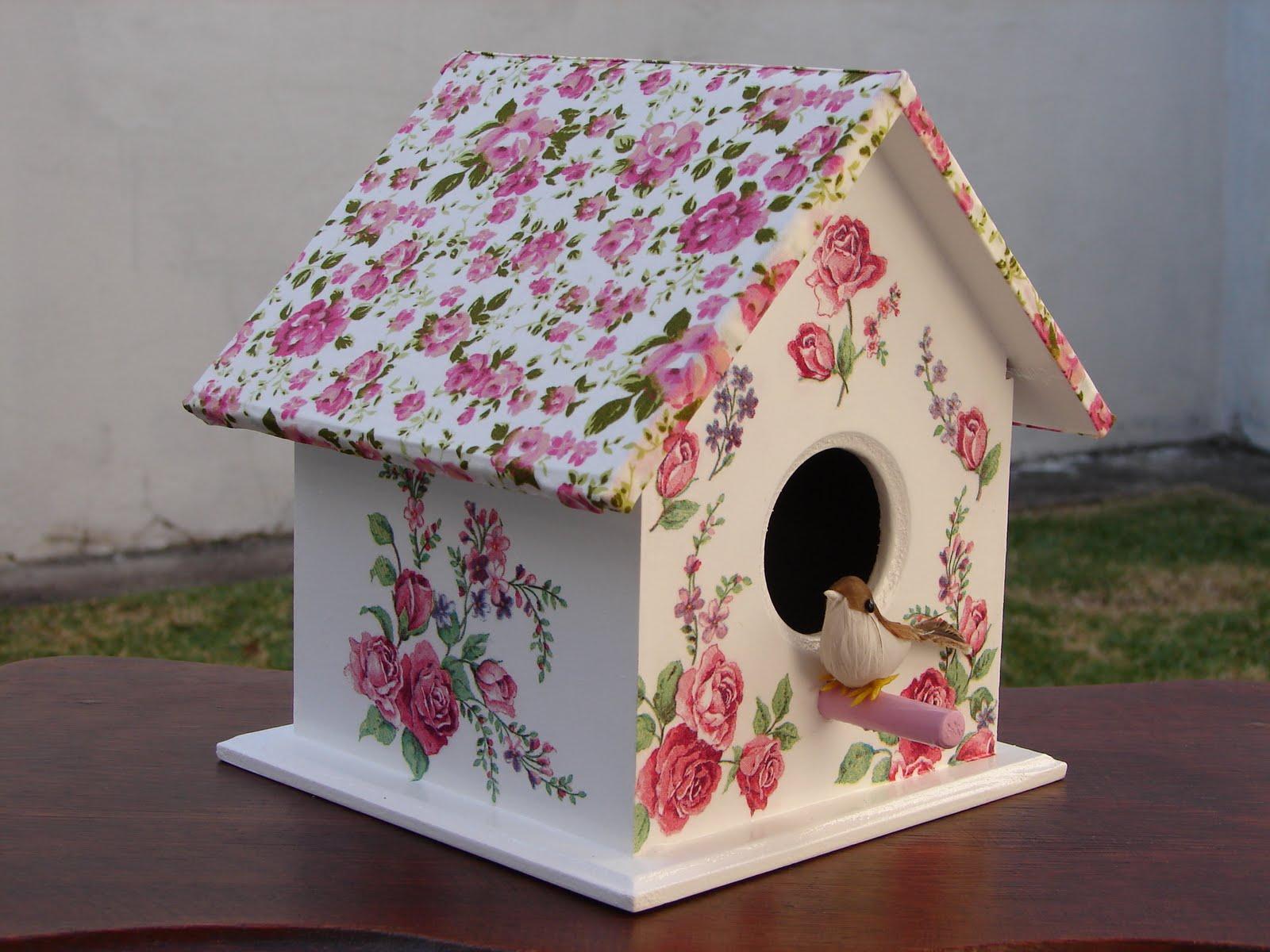 Bell'Arte Arte em madeira e tecido: Casinha de Passarinho Floral  #874464 1600x1200