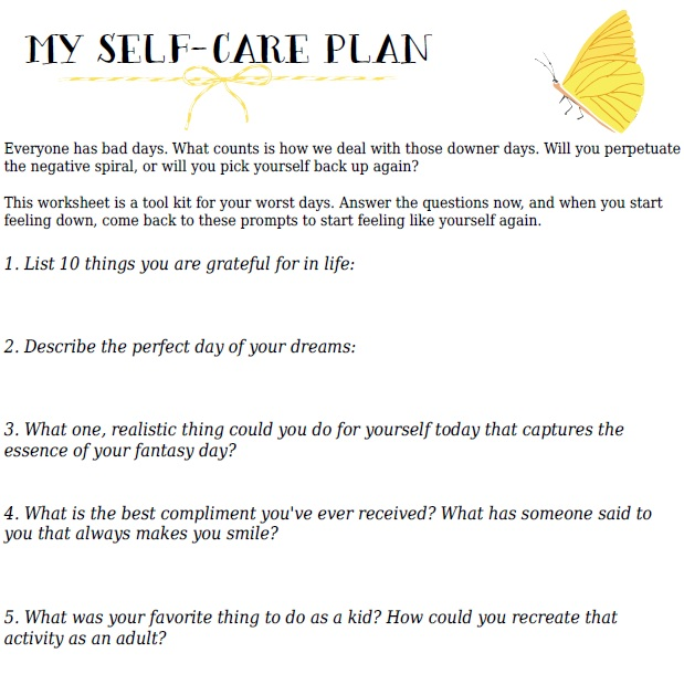 Worksheet Self Care Worksheets she makes a home your self care action plan free printable worksheet