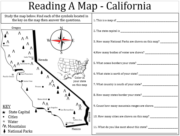 Worksheets Map Reading : Empowered by them california map lesson