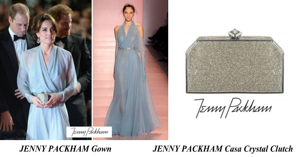 The Duchess Of Cambridge's JENNY PACKHAM Gown And JENNY PACKHAM Casa Crystal Clutch