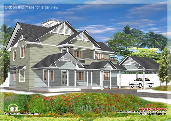 4 bedroom western style house kerala home design for Western home plans