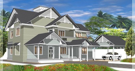 4 Bedroom Western Style House Kerala Home Design And