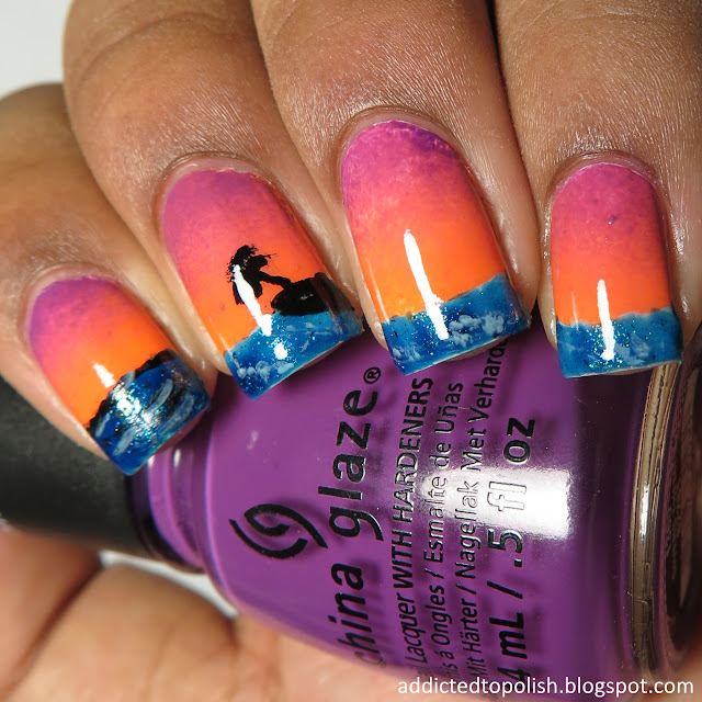 ocean sunset nails