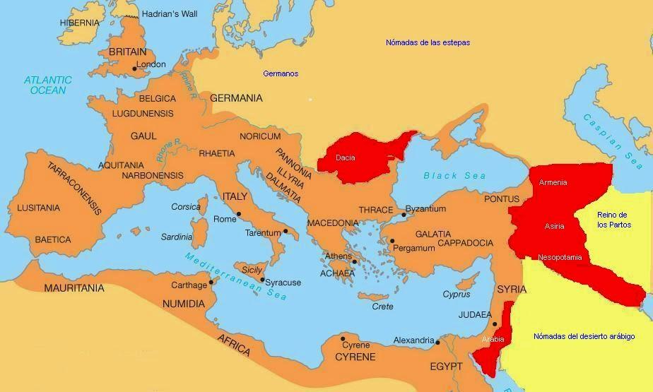 Máxima extensión Imperio Romano - en rojo conquistas Trajano