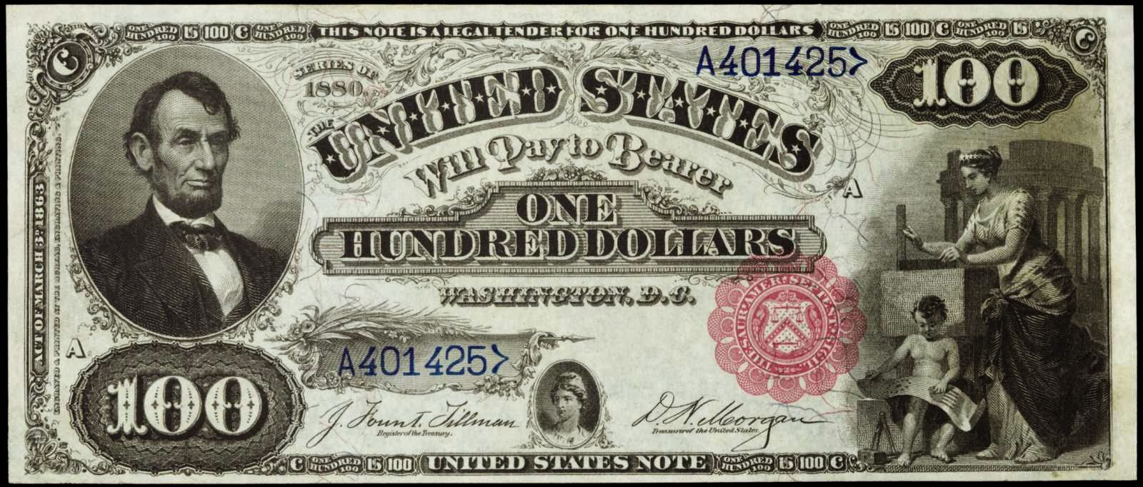 United States currency One Hundred Dollar Legal Tender Note, Abraham Lincoln