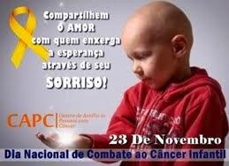 23 De Novembro, dia de Combate ao Câncer Infantil