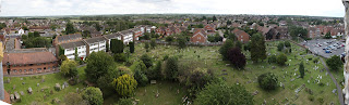 View of Rainham Kent from Church tower - looking towards churchyard