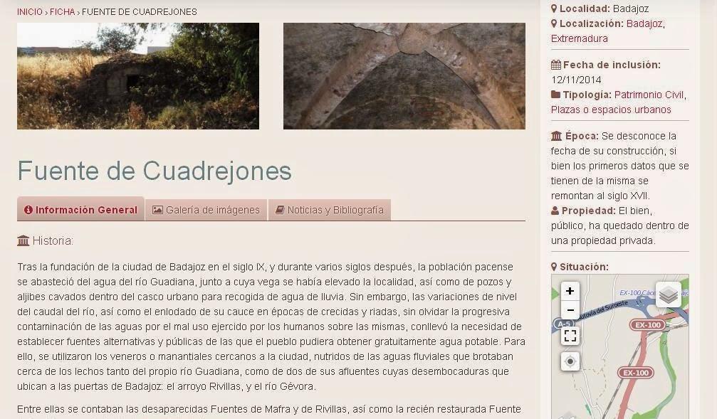 Lista Roja del Patrimonio: Fuente de Cuadrejones (Badajoz)