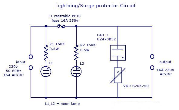 simple lighting surge protector circuit