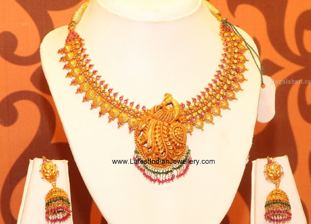 Peacock Necklace and Jhumkas