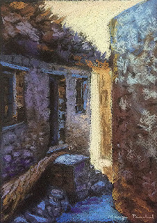 Original soft pastel painting of a morning scene in Nako village, by Manju Panchal
