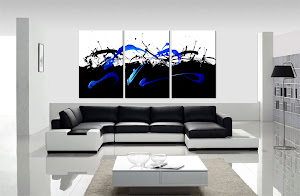 "ORIGINAL ABSTRACT PAINTING ""IN CONTROL - BLACK & BLUE"" ONLY $250"