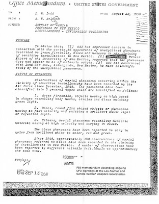 FBI Doc - Aerial Phenomenon Near Sensitive Installations in New Mexico 8-23-1950