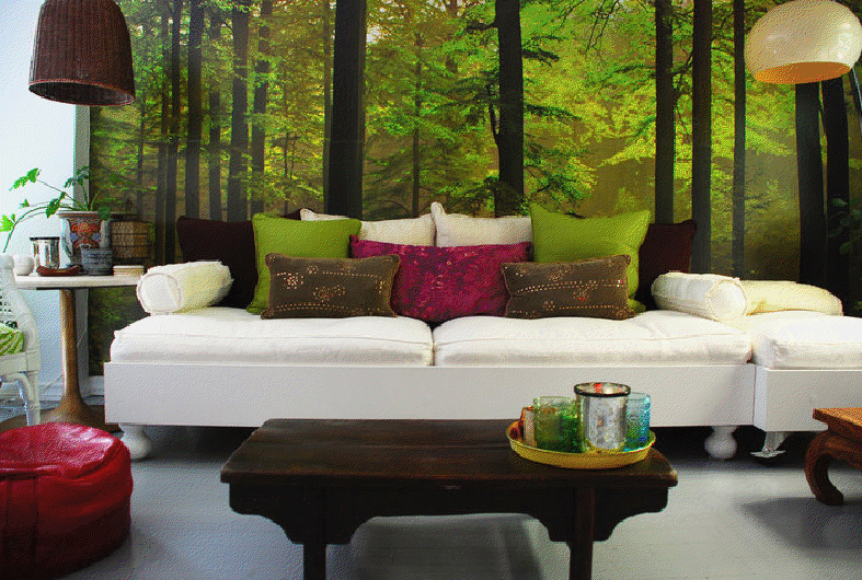 decoracao de sala verde: de interiores: sala em tons branco, carmim, verde e castanho