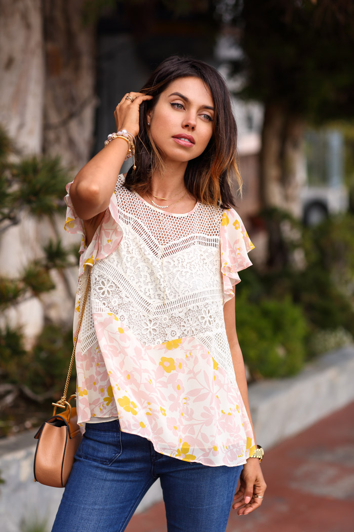 ANTHROPOLOGIE Fluttered Flores blouse