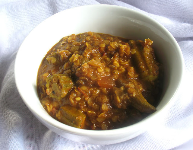 Ethiopian-Style Red Lentil with Okra in a Spicy Tomato Sauce