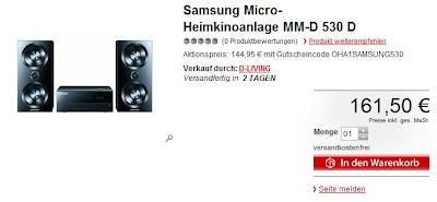 Micro-Heimkinoanlage Samsung MM-D 530 D bei MeinPaket als Oha-Deal für 144,95 Euro