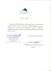 Recibo do cheque entregue ao Sr. Rangel da ADSB