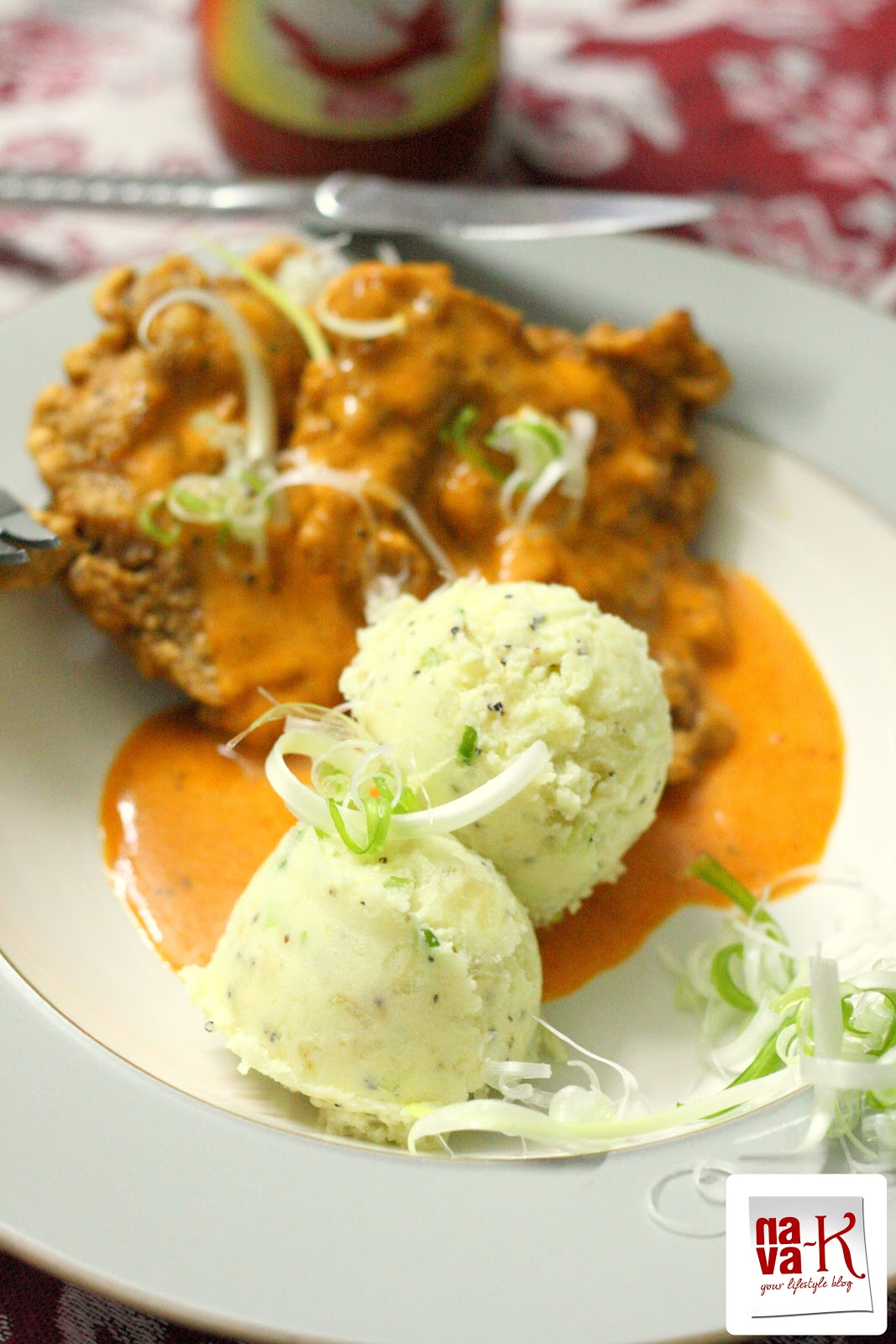 Nava k spicy chicken chop with mashed potatoes not always once in a blue moon a different kind of meal or western meal makes an appearance on our dining table lemongrass chicken kebab jacket potato forumfinder Images