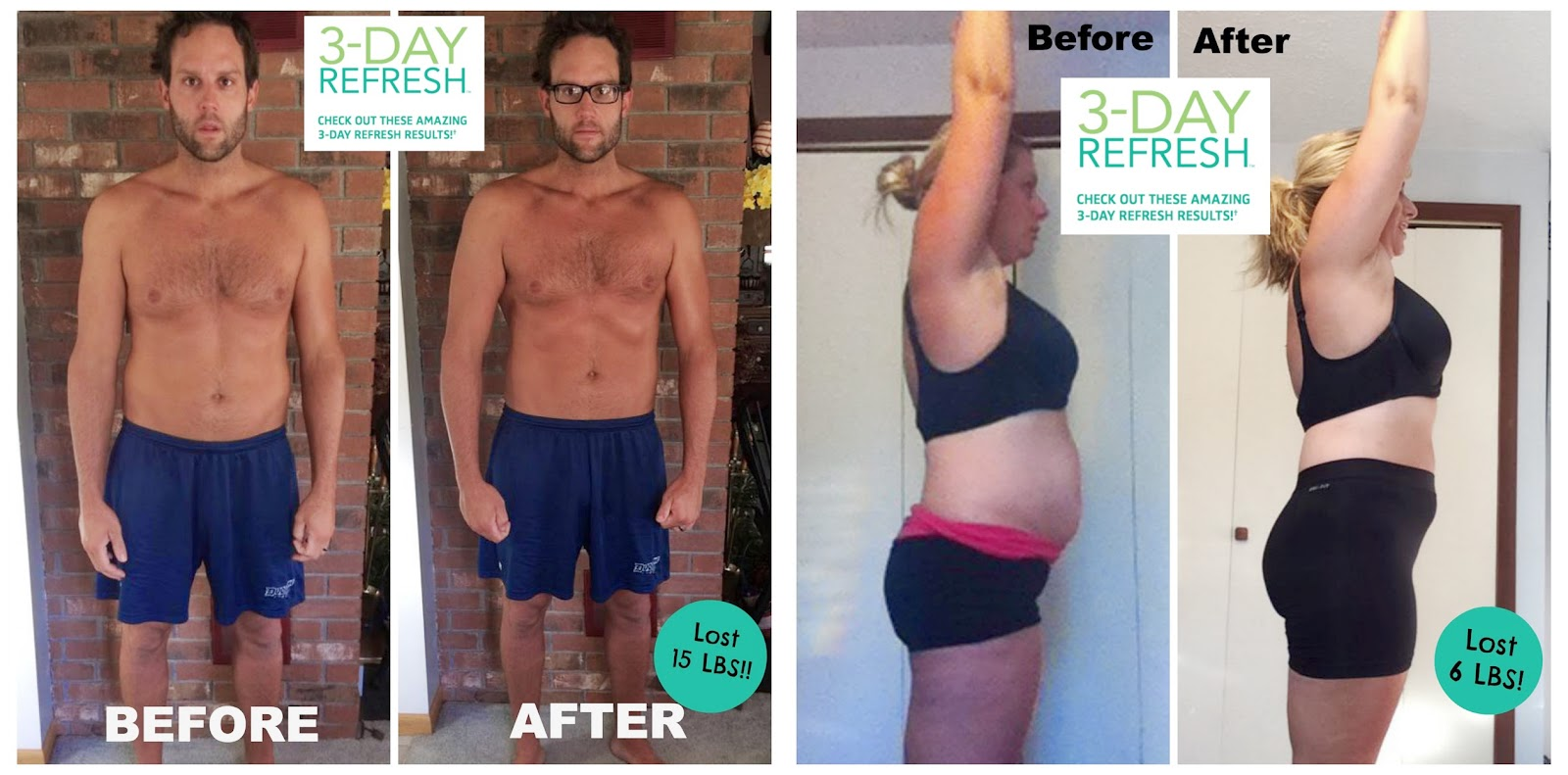 3 Day Refresh, Couples Results for the 3 day refresh, 3 Day Refresh men's results, 3 day day Refresh womens results, lose 15 pounds in 3 days, meal idea, Results, challenge group, support, Sara Stakeley, Sarastakeley.com,