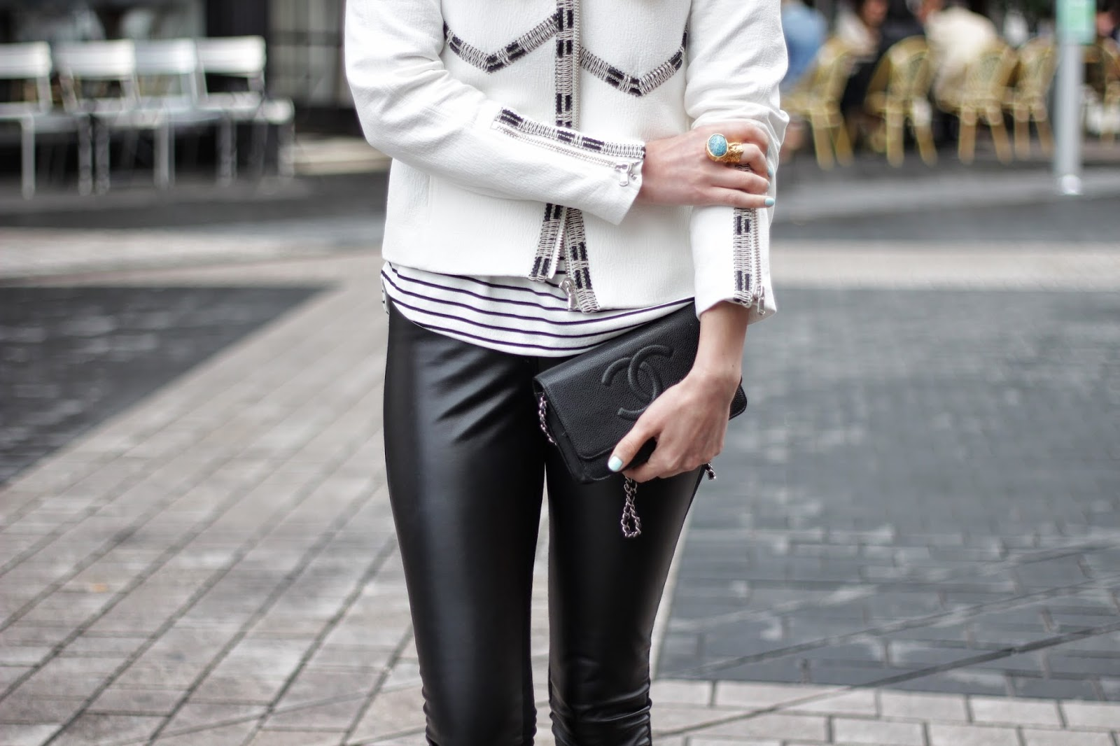 ysl ring, ysl arty ring, saint laurent, saint laurent ring, saint laurent accessorie, chanel bag, chanel clutch, leather leggings, white jacket, striped jumper, breton stripes