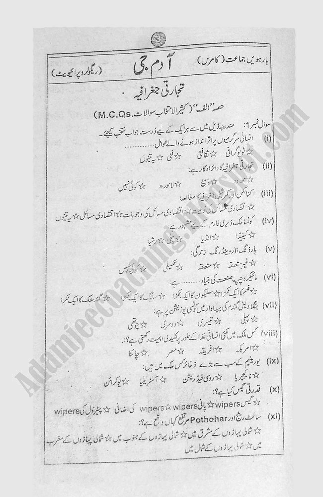 Geography (Urdu) Guess Papers Commerce Group XII Class 12th 2013