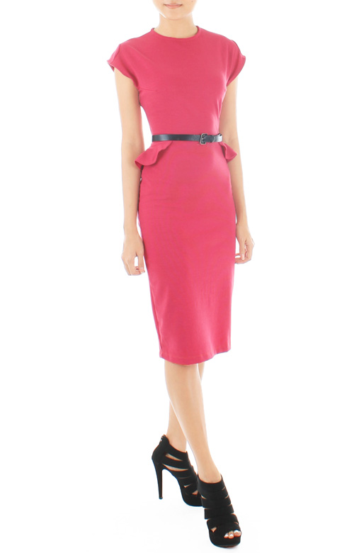Victoria Winged Peplum LUXE Dress – Berry Pink