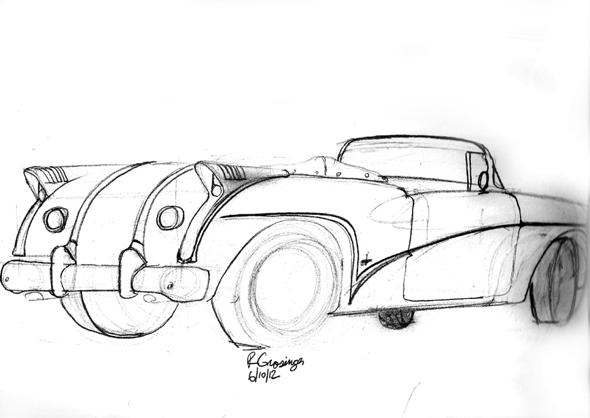 Ron Grosinger\'s Occasional Car Drawings: Drawing cars at local car ...