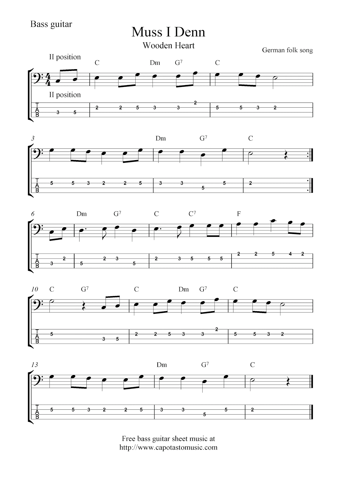 Free bass guitar tab sheet music, Muss I Denn (Wooden Heart)
