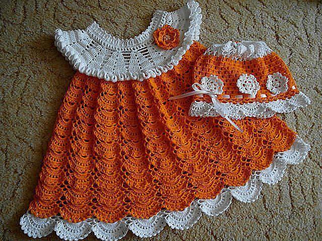 Vestido a crochet punto abanico