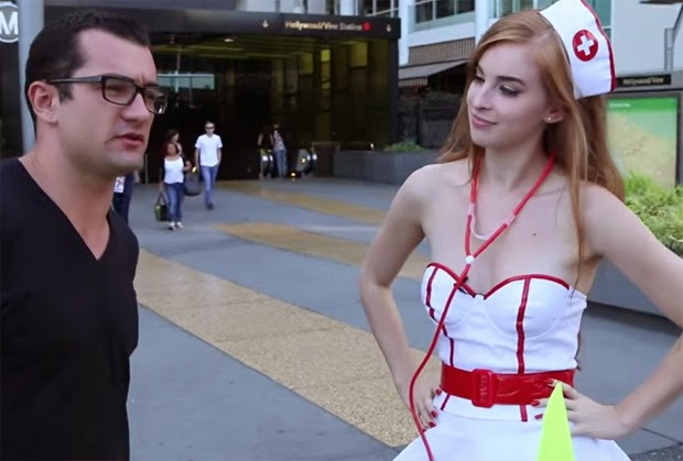 VIDEO: Pretty Girl Marissa Doing 'FREE Testicle Exam' on Public for Charity