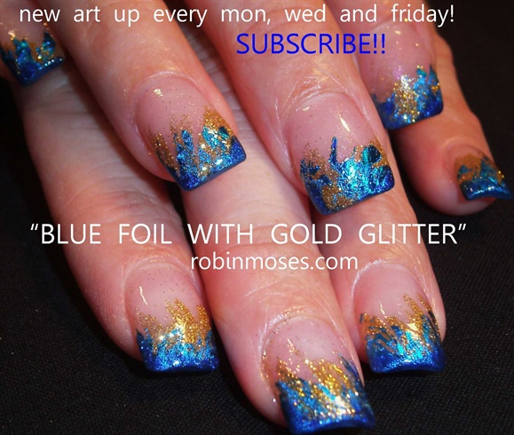Nail art blue designs for short nails