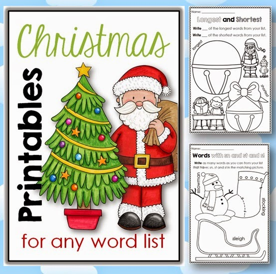 Christmas Printables for any Word List great or centers and daily five in December
