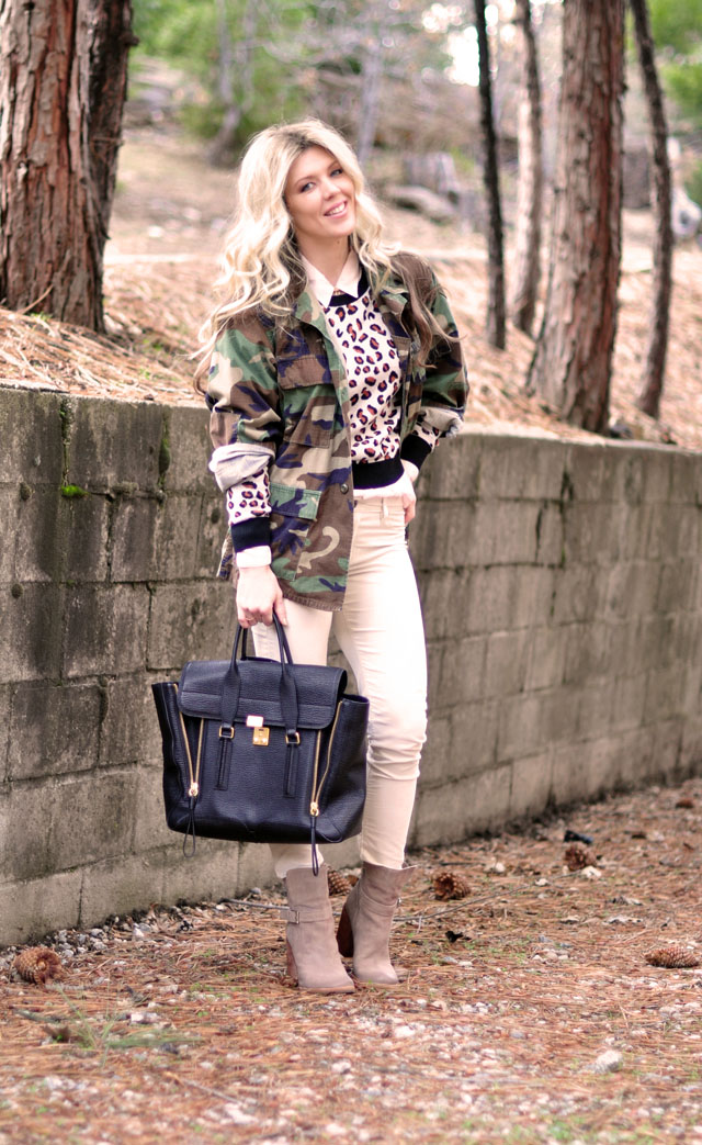 camo jacket, cheetah sweater, neutral outfit