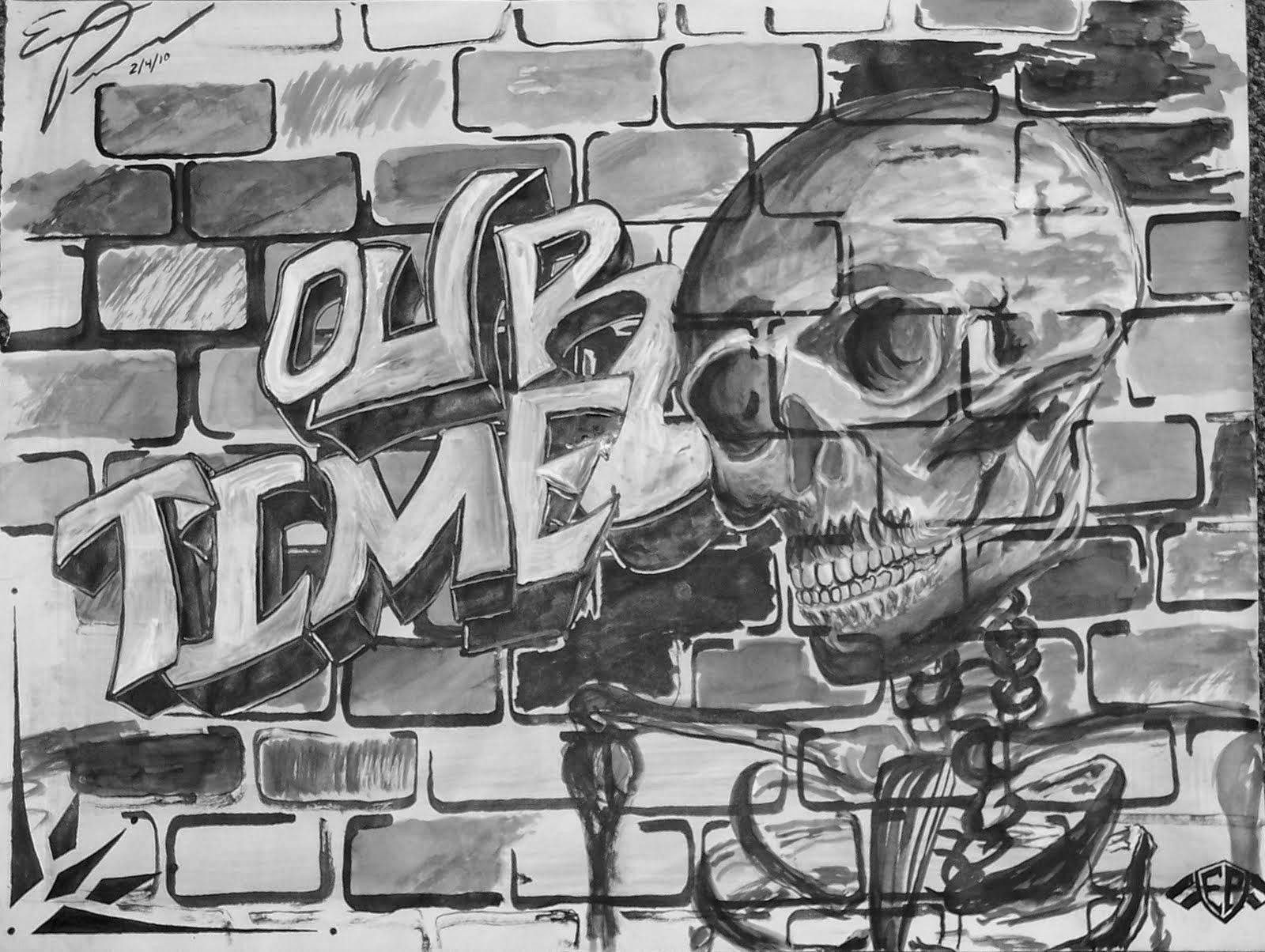 Graffiti wall black - Graffiti Brick Wall Drawing