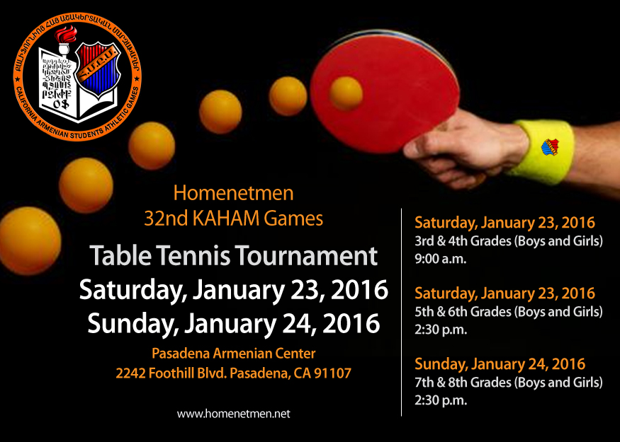 Armenian mesrobian school kaham table tennis tournament for Table tennis tournament template