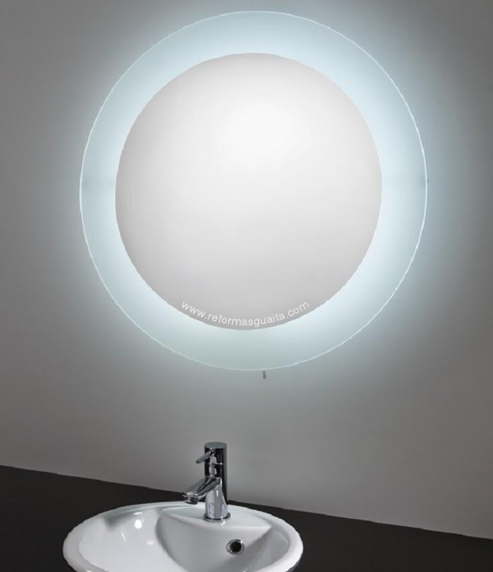 Espejo redondo con iluminacion tu cocina y ba o for Bano con espejo redondo