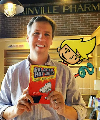 Jeff Kinney and Cosmoe from Galactic Hot Dogs hang out at Jeff's new store, An Unlikely Story!