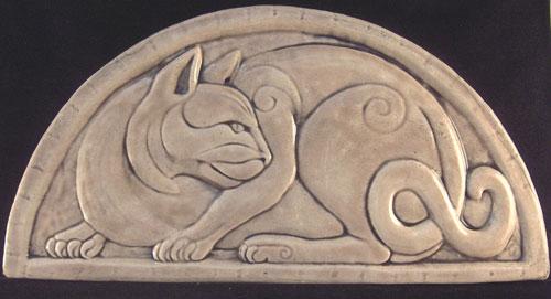 Decorative handmade ceramic tile relief