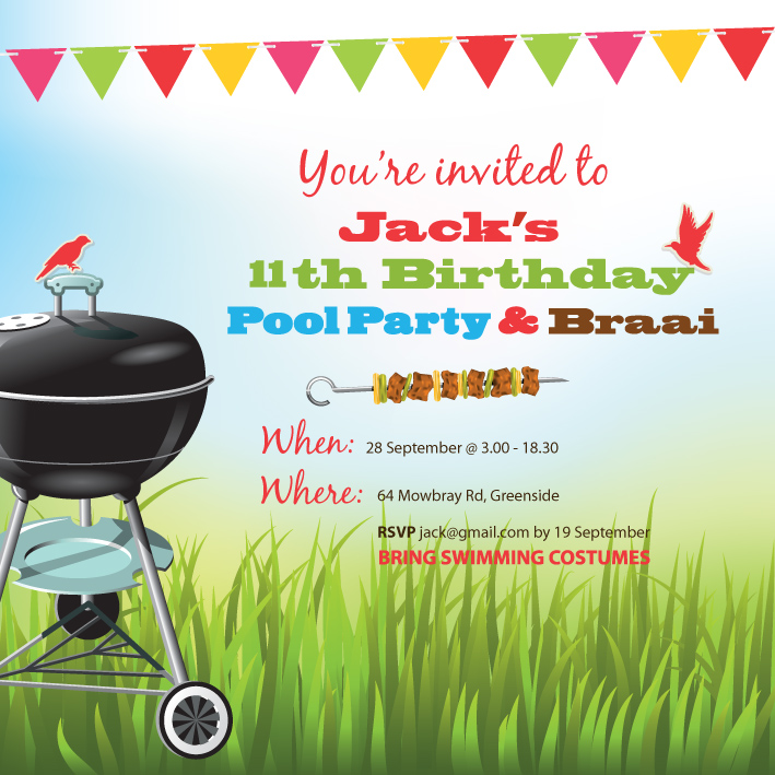 Loosh Creations Pool Party And Braai Birthday Invitation