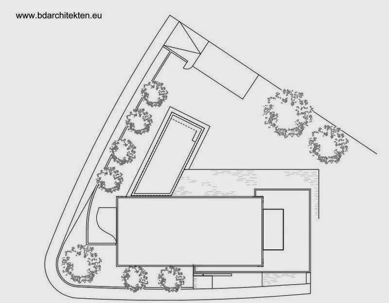 Plano de techos de residencia contemporánea en Alemania