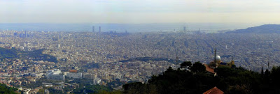 Panoramic view of Barcelona from the Tibidabo funfair