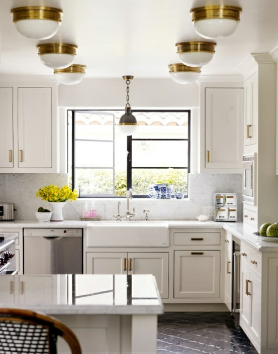 White Kitchen with Brass Hardware 553 x 705