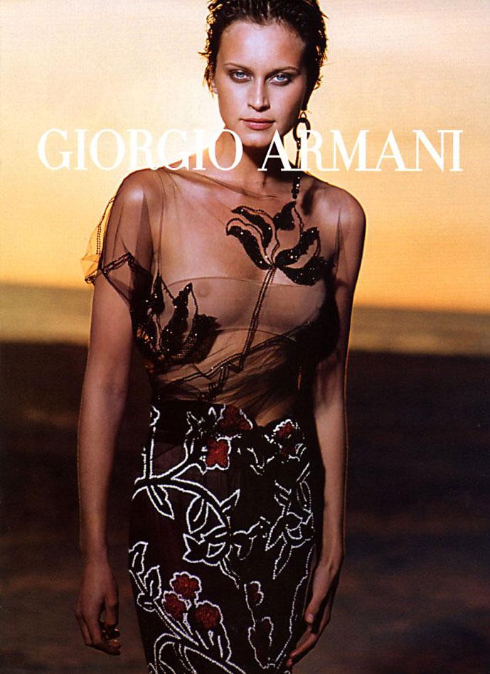 atalia Semanova in Giorgio Armani campaign photographed by Peter Lindbergh