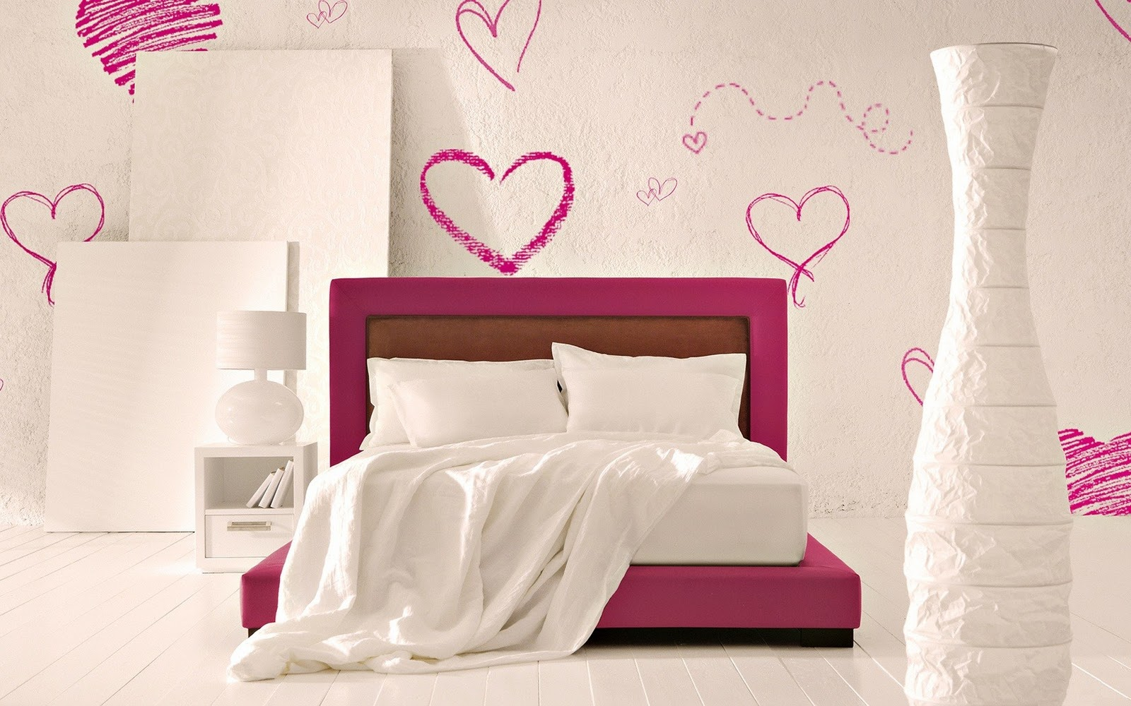 Interior bed hearts style hd wallpaper love wallpapers for Bed wallpaper