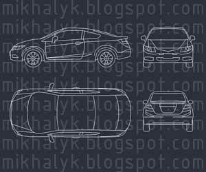 Free AutoCAD Block Honda Car Plan View